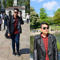 Arif Zainuddin - Zara Studded Leather Jacket, Urban Outfitters Vintage Flannel Shirt, Armani Exchange Reversible Sports Bag - Shades of Cool