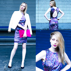 Lydia K - Zara Jacket, Zara Dress, Zara Clutch, &Other Stories Ring, Zara Heels, Saint Laurent Lipstick - Matching Colours