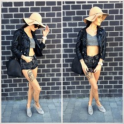 Alexandria Kravitz - Alexander Mcqueen Biker Jacket, Rag & Bone Shorts, Melissa Odabash Hats, Common Projects Loafers - A touch of swAg