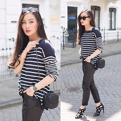 Levi Nguyen - Striped Top, Same Here:, Lace Up Heels, Similar:, Leather Biker Pants, Similar:, Larsson & Jennings Watch, Same Here: - INFINITE LINES