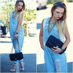 Anna Whyte - Chanel Hanabag, Minx Empire Overalls, Sportsgirl Necklace - Distressed