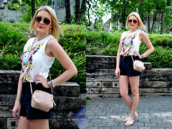 Sara Zgrzebniak - H&M Top, H&M Shorts, Primark Bag, Primark Sandals - Summer flowers