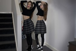 Natasha E - Nasty Gal Black Crop Sweater, Witchery Plaid Pleats, Jeffrey Campbell Jcs - Melbourne.005- Seeing double
