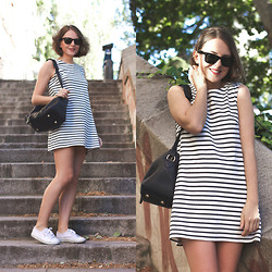 Trini Gonzalez - Ray Ban Sunglasses, Wood Dress, Louis Vuitton Bag, Superga Sneakers - Spring 2014