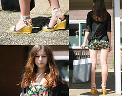 Luna G. - No Man's Land Vest, Zara Playsuit, Pull & Bear Bag, Fred De La Bretoniere Wedges - Flamingos