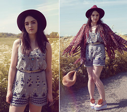 Rachael Dobbins ♡ - Usc Aztec Playsuit, Free People Rust Fringe Cardigan, Ikrush Jelly Platforms - Bohemian Summer