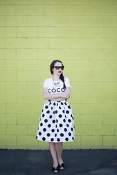 Kelsey Bang - Style Latley Graphic Tee, Prada Cat Eye Sunglasses, Shamelessly Sparkly Statement Necklace, Chic Wish Polka Dot Full Skirt, Valentino Bow Heels, Mac Mac  Diva - Black and White Polka Dots