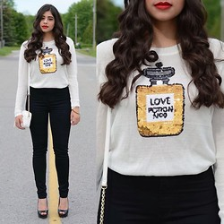 Sarah M - Lookbook Store Love Potion Sweater, Acne Studios High Waisted Skinny Jeans, Aldo Peep Toe Pumps, Aldo Cross Body Bag - A Dose of the Love Potion