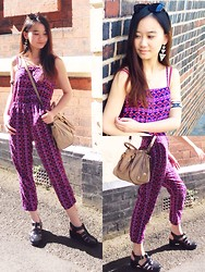 Veronica W. - Forever 21 Earrings, New Look Bracelets, Miu Cross Body, Forever 21 Jumpsuit, Boohoo Jelly Sandels - Day in birmingham. X