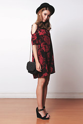 Tricia Gosingtian - Motel Rocks Savannah Cold Shoulder Dress In Tonal Floral Maroon, Randa Strap Wedge Sandals - 061214