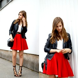 Linda H - Thrift Market Red Skirt, Milanoo Lace Up Heels, H&M Black Leather Jacket - Red Statement
