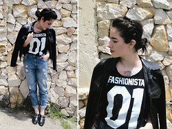 Luisa Fernanda Castellanos - Cheap Monday Fashionista 01, Forever 21 Boyfriend, Topshop Leather Jacket - Rudimental - Free