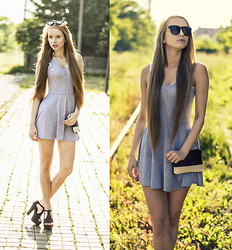 Katarzyna P - Sheinside Dress, Lovelywholesale Shoes, Sheinside Bag, Lovelywholesale Sunglasses - GREY