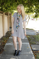 Izzy Bea - Little Lies Stripe Dress, Jeffrey Campbell Cut Out Boots - BRIGHT MORNINGS
