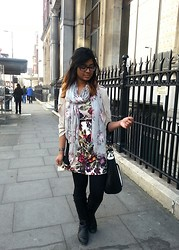 Tasnim H. - Boohoo Dress,, Chic Wish Coat, Chicwish, Boots, Office, Bag, Dune, Scarf, F&F - City of London