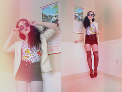 ♡ SACPUN ♡ - Forever 21 High Waisted Shorts, Faux Knee High Stockings, Bdg Platform Creepers, Ivory Blazer, Zerouv Oversized Retro Sunnies, Forever 21 Keith Haring Bathing Suit - Astro zombies