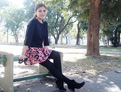 Deborah Ferrero - Black Sweatshirt, Floral Skirt, Black Tights, Ankle Boots - STUDS N' ROSES