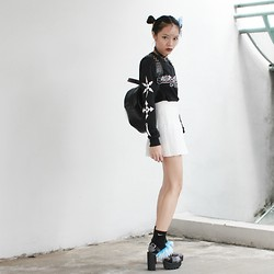 Plaaastic ! - The Moon Label Lock Heart Choker, Once Youth Long Sleeve Shirt, American Apparel Tennis Skirt, Nike Socks, Romy London Furry Heel - Wasted Youth