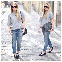 Paris Grenoble - Zara Top, Cache Jean, Balenciaga Bag, Marc By Jacobs Sunnies, Bobbies Slippers, La Demoiselle Du Marais Necklace - Lucky Friday?