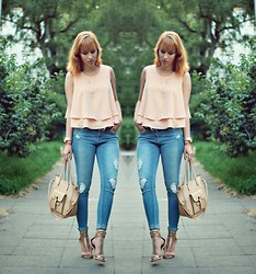 SecretFashion Love - Zara Top, Pull & Bear Jeans, Zara Heels - Nude Shades