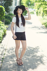 Phương Anh Nguyễn - H&M Floppy Wool Hat, Fossil Watch, Zara Crop Top, Minute Shop Zipper Shorts, Mango Purse, Pimpkie Heels - Refreshing Summer