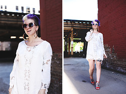 Jessie Barber - Target Sandals, Thrifted Faux Leather Jacket, Urban Outfitters Gold Cat Eye Glasses, Akira Gold Hoops, Thrifted Lace Slip, Necessary Clothing Moom Crochet Mini Dress - Necessary