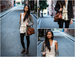 Aurélie Pagwiwoko - Dotti Lace Singlet, Forever New Highrise Shorts, Topshop Brown Boots, Fascino Bag - French Vanilla