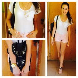 G C - Primark T Shirt, Shorts, Primark Bag, Parfois Watch, Primark Necklace, Sandals - Light pink