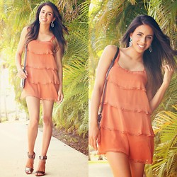Karla Quinones - Forever 21 Tiered Dress, Vant Jag Fanned Chevron Earrings, H&M Metallic Heels - Citrus Squeeze