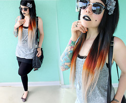Anja - H&M Black Silver Sunglasses, Rings & Tings Double Finger Talons Ring, Second Hand Grey T Shirt With Black Studs - Long Slow Good Bye.