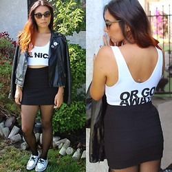 Alexis Fabiola - Forever 21 Moto Jacket, 24hrs Be Nice Crop Top, Forever 21 Pencil Skirt, T.U.K. Creepers - Be nice.