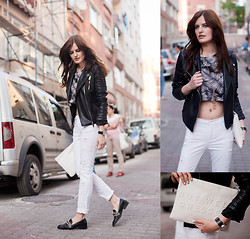 Viktoriya Sener - Zara Jacket, Zara Pants, Zara Loafers, Modparade Tee, Modparage Necklace, Zara Clutch - B&W