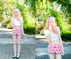 Kailey Flyte - Lazy Oaf Watermelon Shorts, Forever 21 Crop Top - Watermelon Taffy