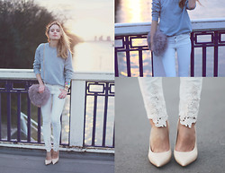 Sonya Esman - Asos Fluffy Bag (Faux Fur), Asos Crochet White Jeans, Céline Pointed Toe Heels, Asos Grey Pullover - Crochet sunsets.