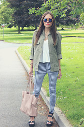 Vee Vee - Zara White Cami Top, Glamorous Gingham Print Trousers, Linzi Cleated Sole Sandals - Gingham Army.