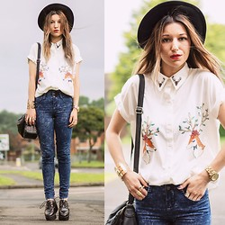 Agata P - Deer Print White Shirt, New Look Jeans - A Thousand Forms Of Mind