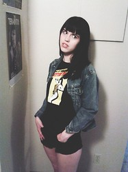 Lottie S - Vintage Denim Jacket, Designed By My Boyfriend :) Bettie Page T Shirt - Bettie