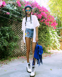 Gizele Oliveira - Brashy Couture T Shirt, Primark Shorts, Forever 21 Kimono, River Island Hat, Asos Backpack, Dr. Martens Boots - So bored