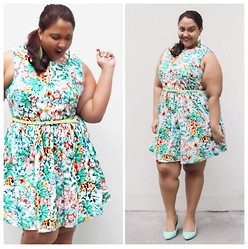 Aarti Olivia - Tropical Print Dress, Rubi Mint Green Wedges, Asos Skinny Belt - Tropical