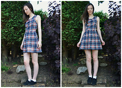 Nina JC - Blue Vanilla Navy Inverted Pleat Skater Dress, Atmosphere Black Plimsolls - New Look Navy Plaid Skater Dress