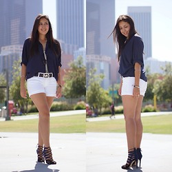 Shirley M - Forever 21 Button Up Shirt, Levi's® Jean Shorts, Zara Strappy Heels, Michael Kors Belt, Mango Sunglasses - City Girl