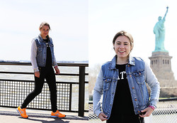 Leonie - Forever 21 Denim Jacket, Pull & Bear Sweater, Zara Black Jeans, Nike Shoes - Tangerine dream