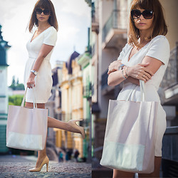 Nataly Bagart - Bagart Leither Tote Bag, Love Republic White Dress, Pandora Bracelet, Dkny Watch, Just Cavalli Sunglasses - White day