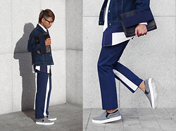 Judas Lee - Prada Side Panel Pants, Wood Plastic Band Clutch, Jil Sander Arena Printed Shirt, Denim Jacket, Wool Slip On Sneakers In Grey - JUXTAPOSING