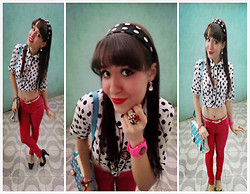 Larissa Petra - Mith Polka Shirt, Myself *  * Polka Hair Bow, Juicy Couture Pink Watch, Aliexpress Polka Bag, Bazaar Garden Ring - Polka Polka *--*
