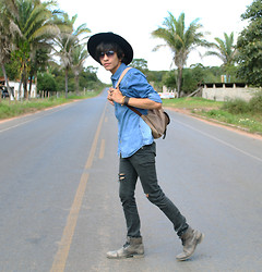 Victor Moura - Prada Hat, Blue Steel Pants, Democrata Boots - Coming back
