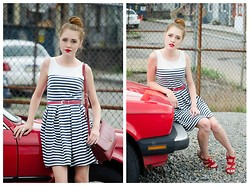 Maddie T - Others Follow Striped Dress, Coach Vintage Bag, Forever 21 Strappy Wedge Sandal - Feeling French Nouveau