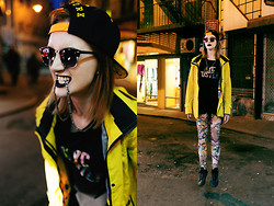 O* CONJoint - Ray Ban Shades, New York, New York Cap, Adidas Nyc Hustle Tee, Hawke & Co. Wind Jacket, Graffiti Patterned Leggings - The Shadow Reflect