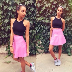 Arlissa Ruppert - American Apparel Crop Top, Whistles Skirt, Adidas Addidas Trainers - June.