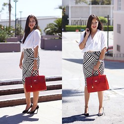 Shirley M - Kardashian Kollection Pencil Skirt, Shoemint Lace Heels, Forever 21 White Top, Vanilla London Hemes Inspired Bag - Kardashian Kollection Pencil Skirt